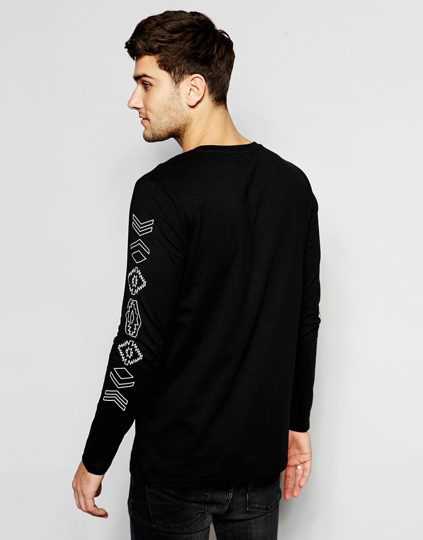 Asos relaxed longline long sleeve t shirt with aztec for Long sleeve printed t shirts