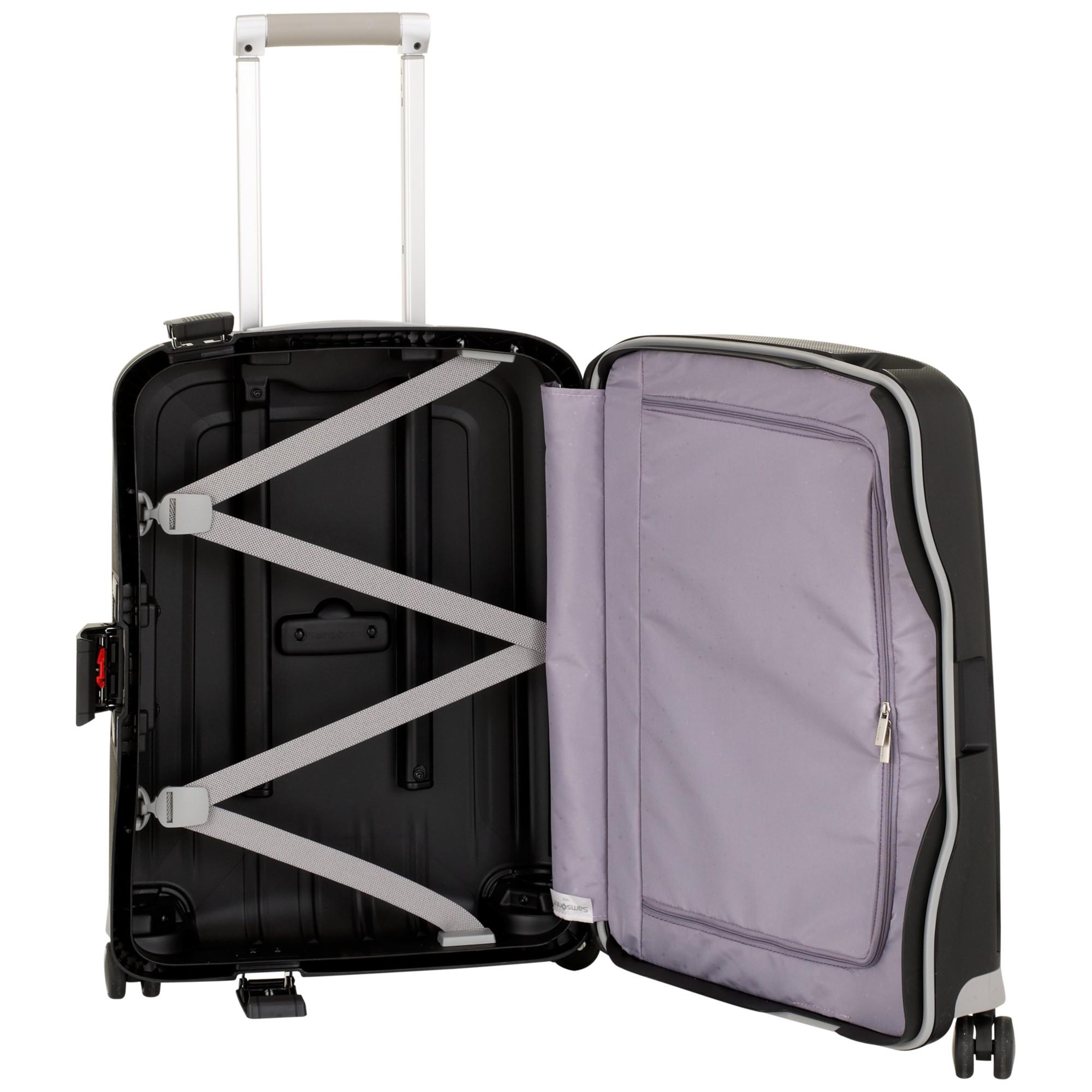 samsonite s 39 cure 4 wheel 55cm cabin suitcase in black lyst. Black Bedroom Furniture Sets. Home Design Ideas