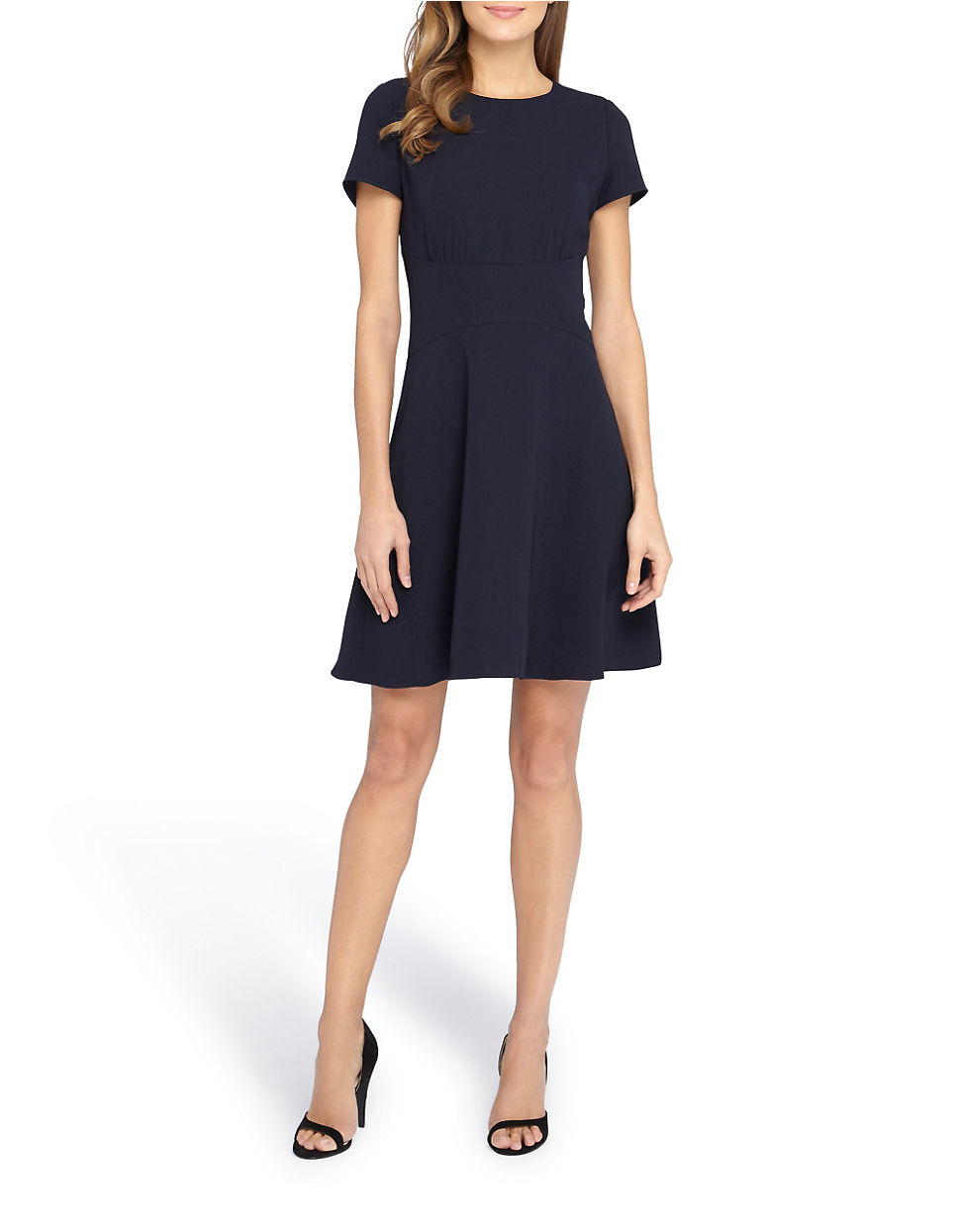 Tahari Petite Short Sleeve Fit And Flare Dress In Black Lyst