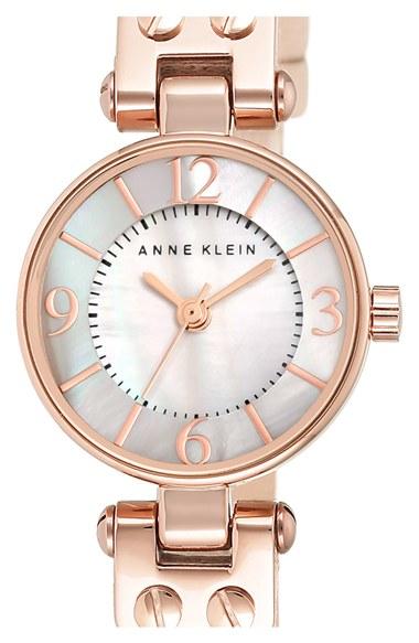Lyst anne klein round leather strap watch in metallic for Anne klein leather strap