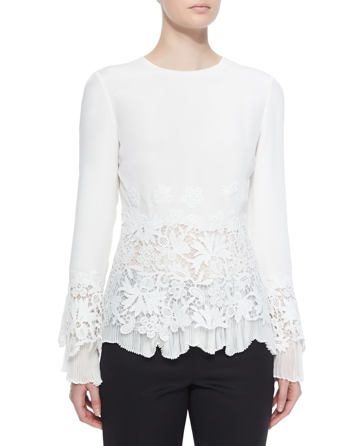 Long Sleeve Lace Blouse 108