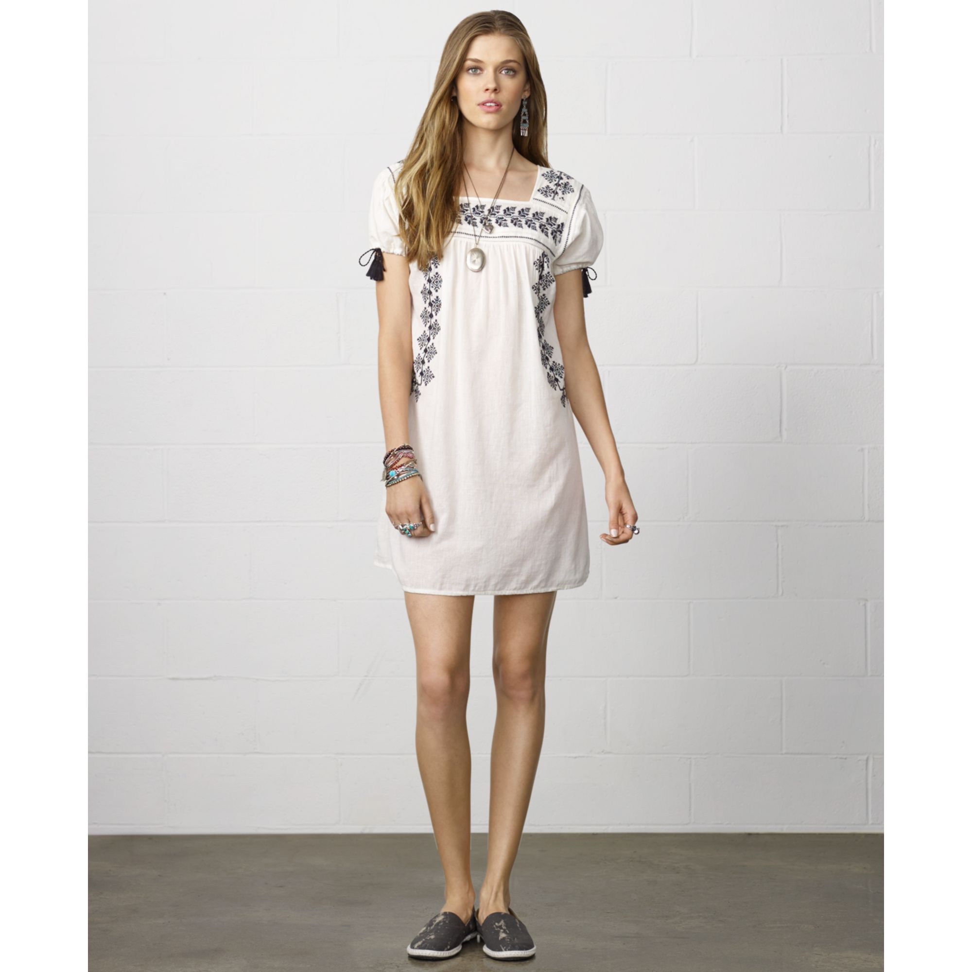 d8286b3a8539 Denim & Supply Ralph Lauren Shortsleeve Embroidered Peasant Dress in ...