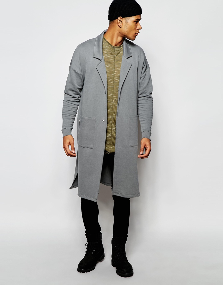 Asos Extreme Longline Oversized Jersey Duster Jacket In Grey in ...