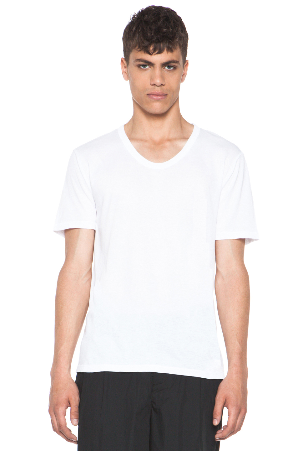 T by alexander wang classic low neck tee in white in white for Alexander wang t shirts