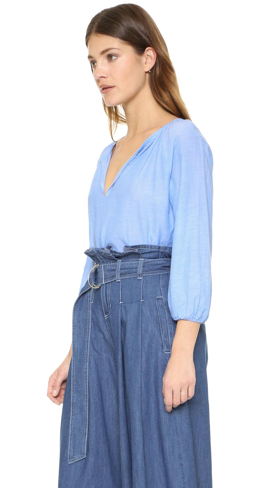 Sjyp Denim Suspender Belt Pants In Blue Lyst