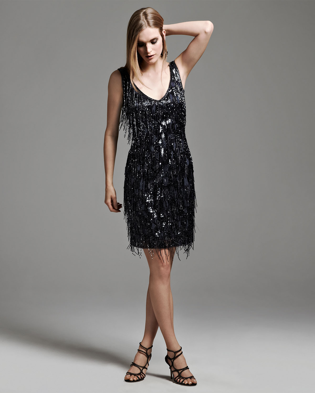24c211b85c5 Lyst - THEIA Sleeveless Beaded Fringe Cocktail Dress in Black