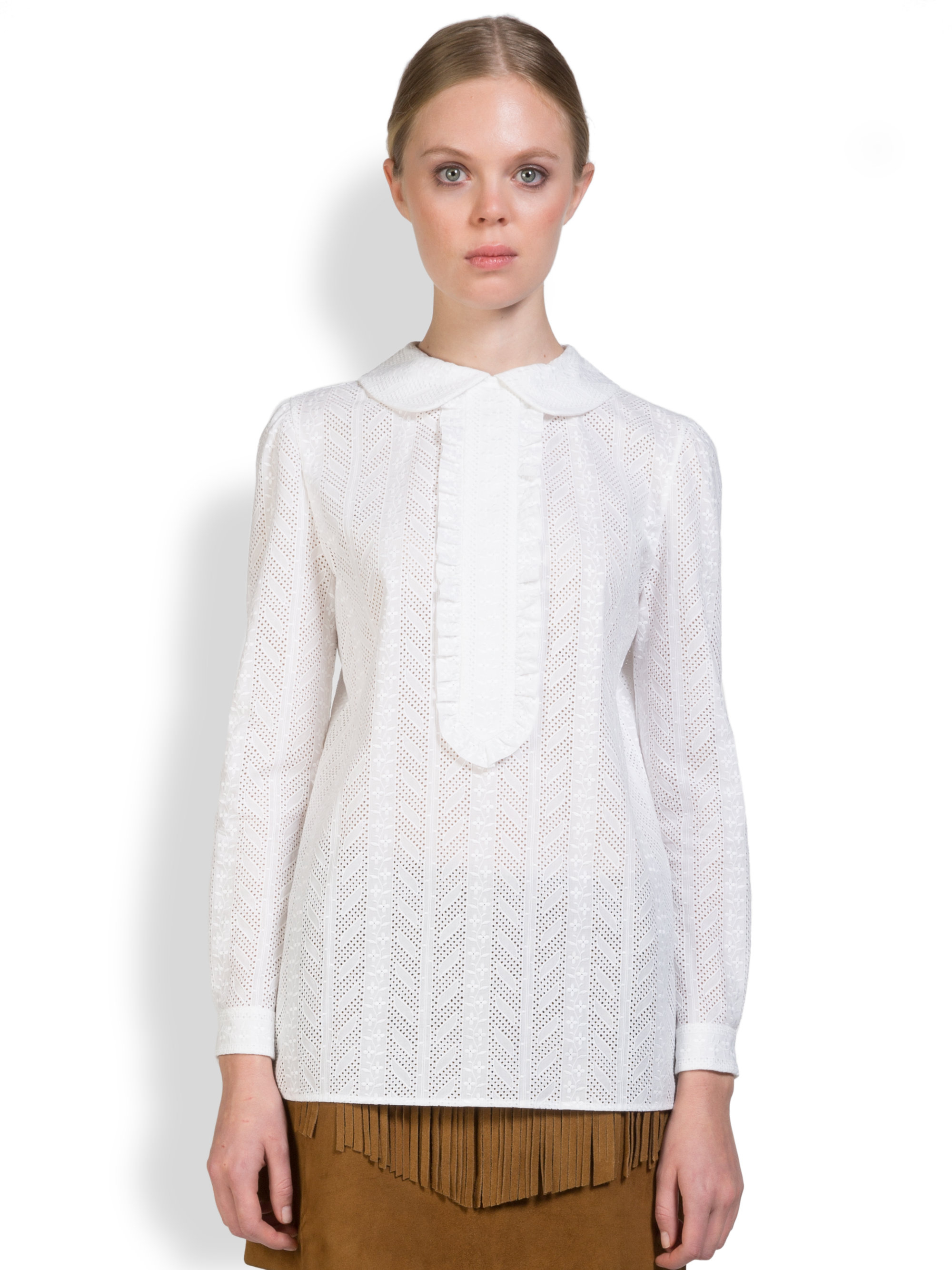 lyst saint laurent broderie anglaise eyelet blouse in white. Black Bedroom Furniture Sets. Home Design Ideas