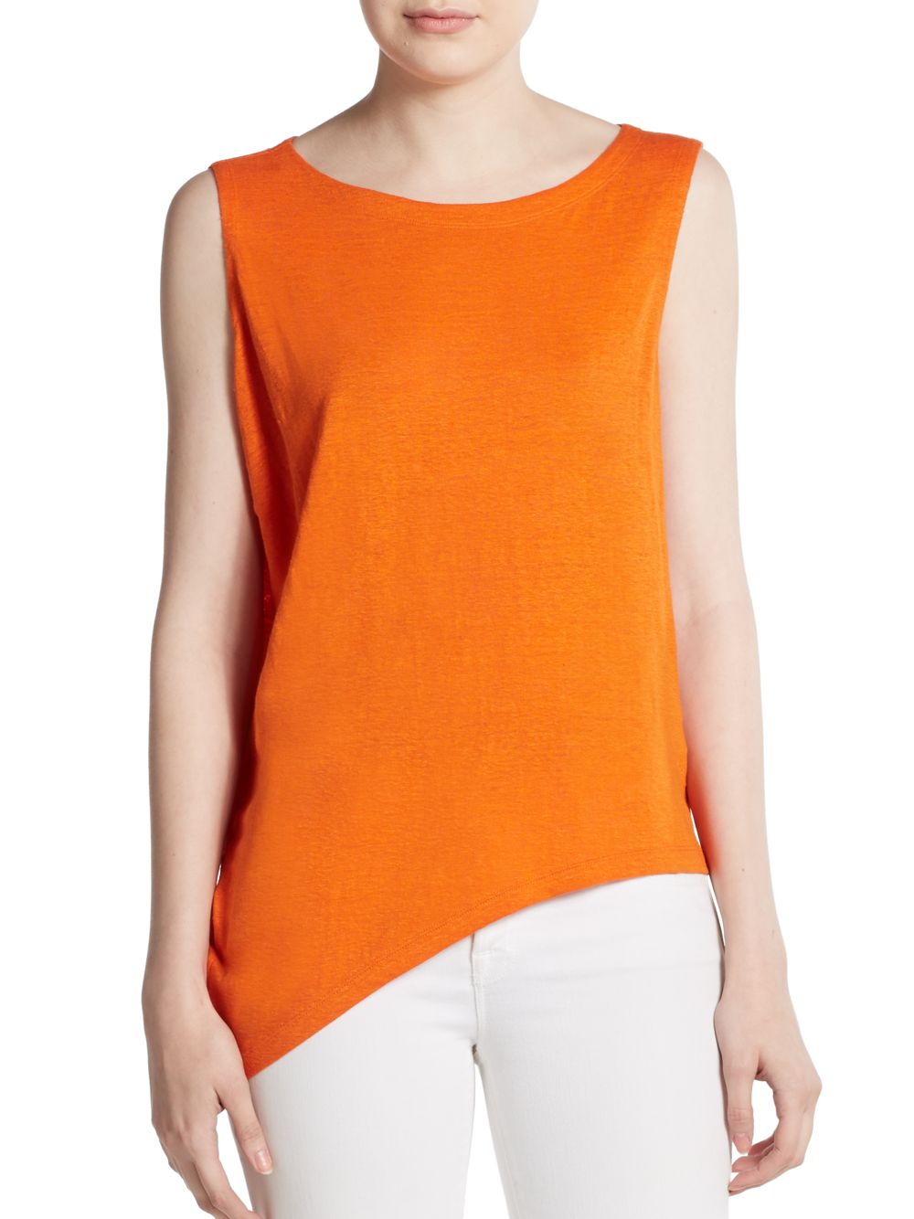8cd26098f76 Lyst - Eileen Fisher Asymmetrical Linen Jersey Tank Top in Red