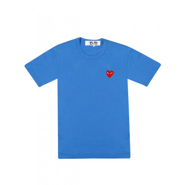 Comme Des Gar Ons Play Mens Red Heart T Shirt Blue In Blue