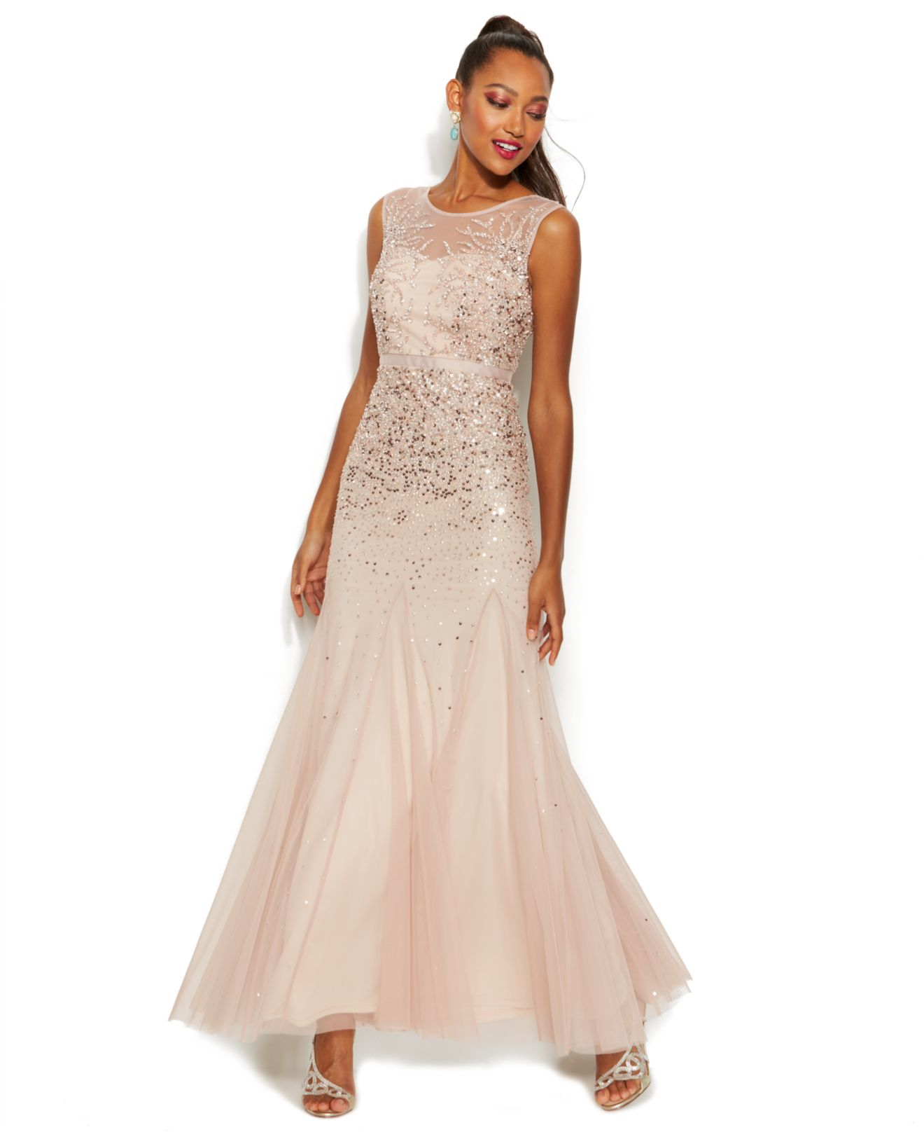 Blush Wedding Dress Petite : Adrianna papell sleeveless beaded illusion gown in pink lyst