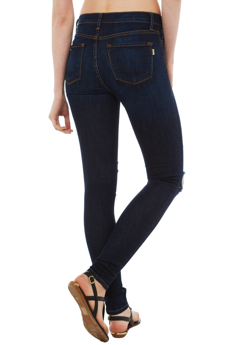 Akira black label Slashed & Frayed Skinny Dark Blue Denim Jeans in ...