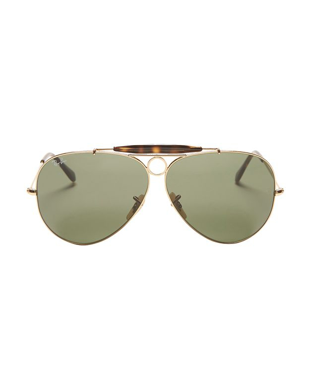 707d9f7e1b0 Lyst - Ray-Ban Classic Brow Bar Aviator Sunglasses  Green in Metallic
