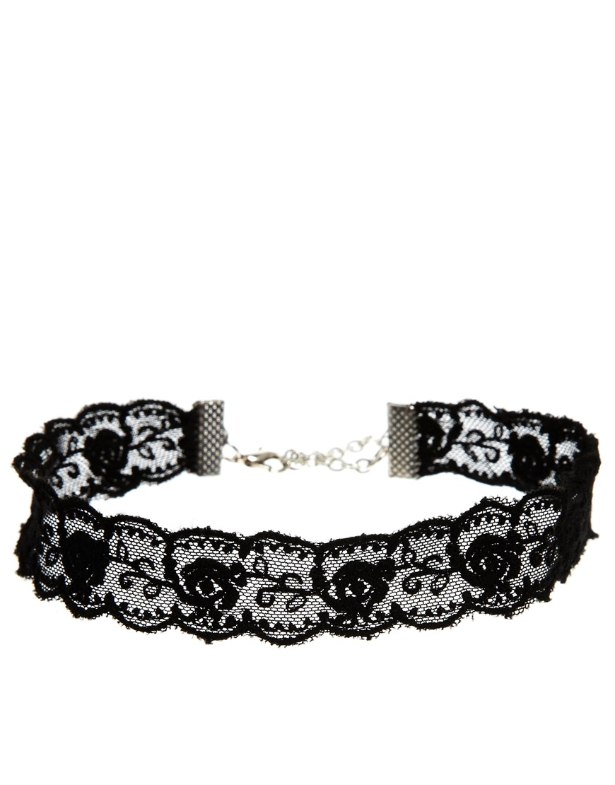 asos lace choker necklace in black lyst