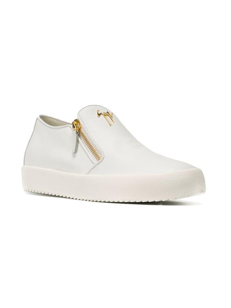 Men Leather Slip On Sneakers Eve Zanotti Giuseppe White For 3LARjqc54S