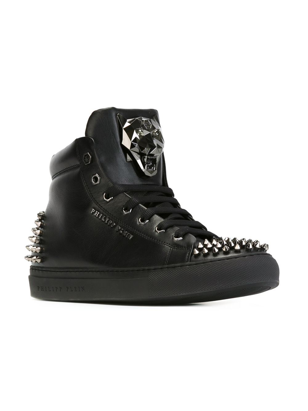 Philipp Plein Spike Studded Leather High Top Sneakers In