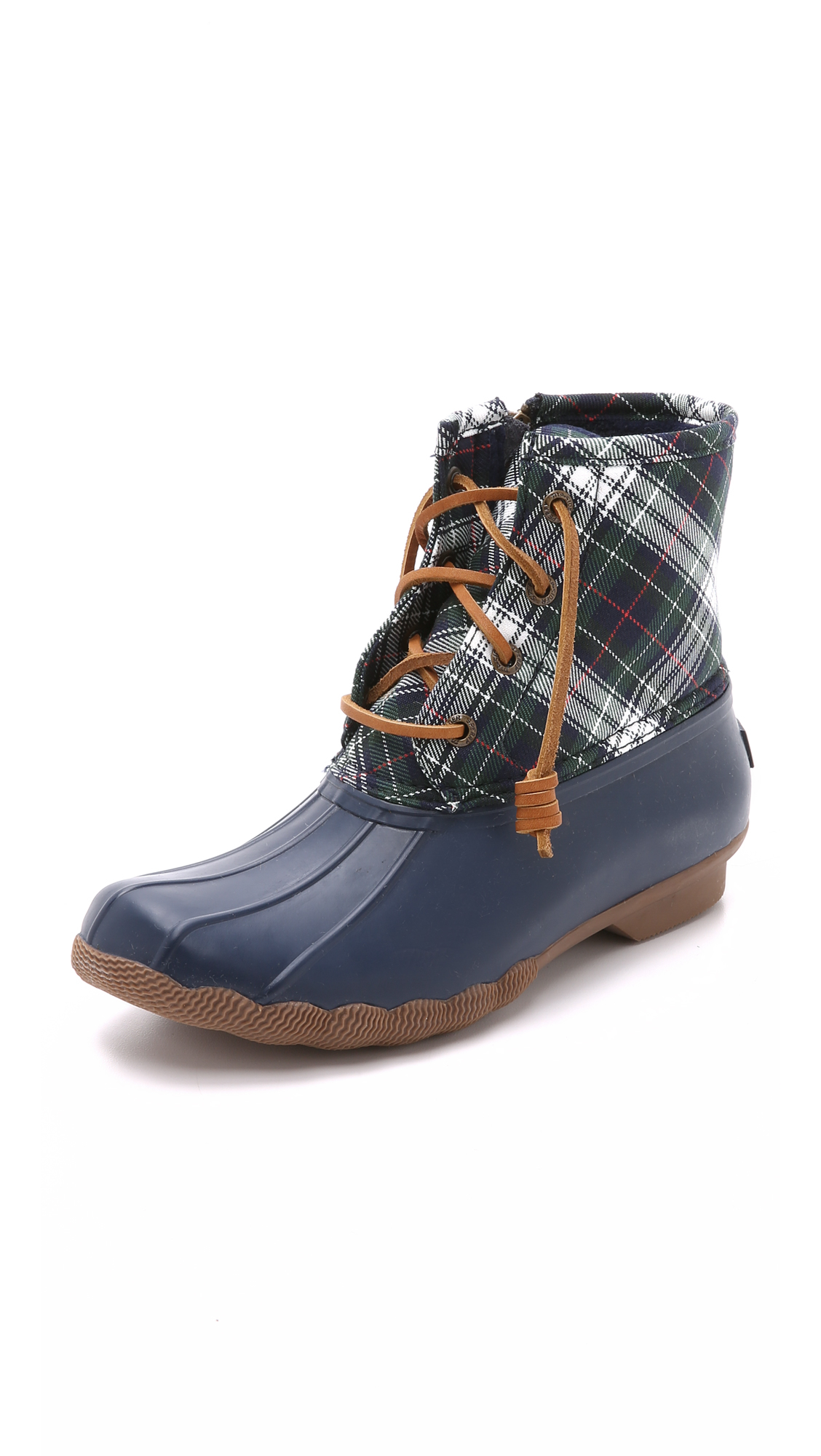 Sperry Top-Sider Saltwater Plaid Water-Resistant Boots in Navy/Green (Blue)