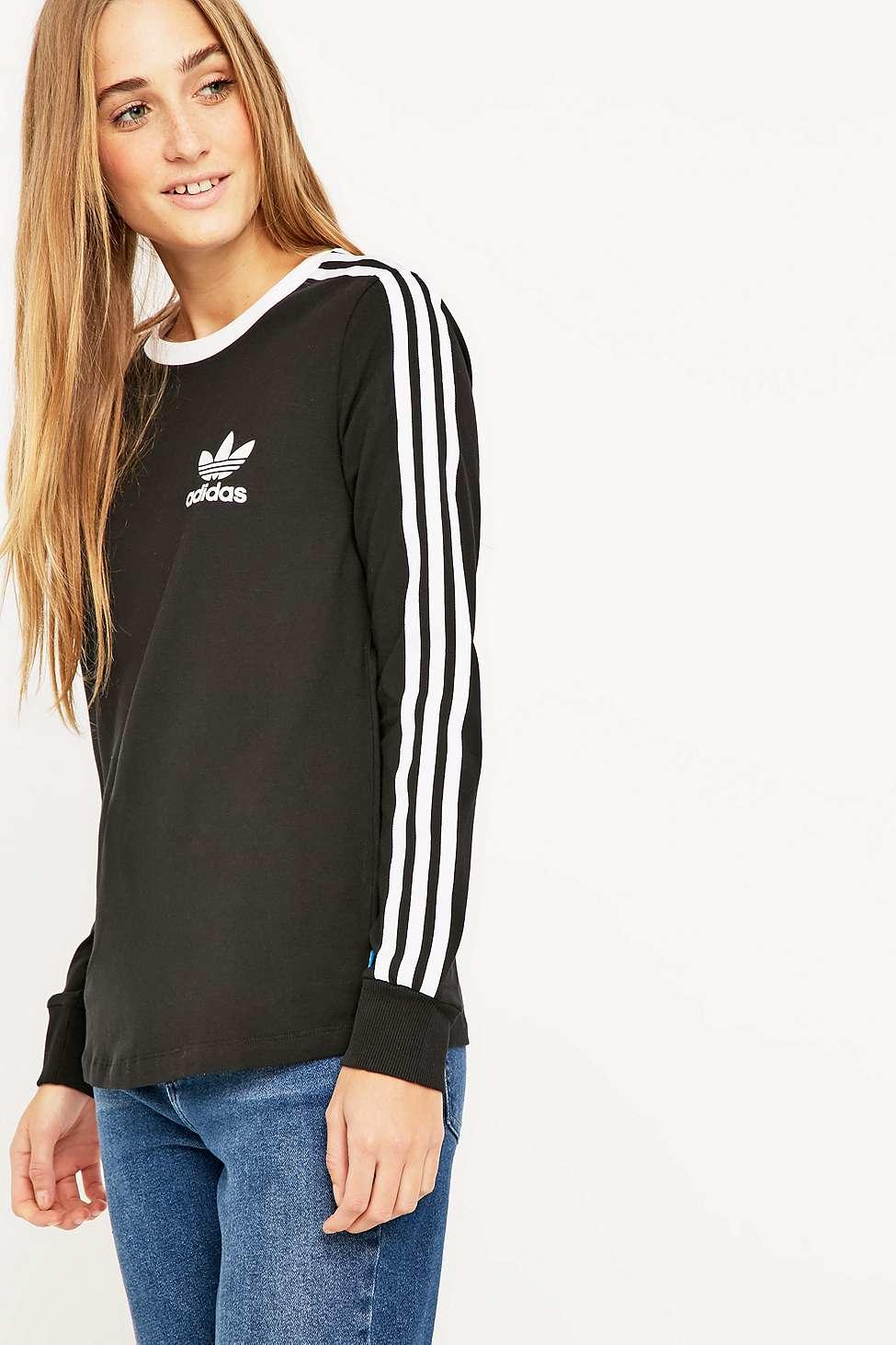 adidas Three Stripe Long Sleeve Black T-shirt in Black - Lyst 9e1b0be804