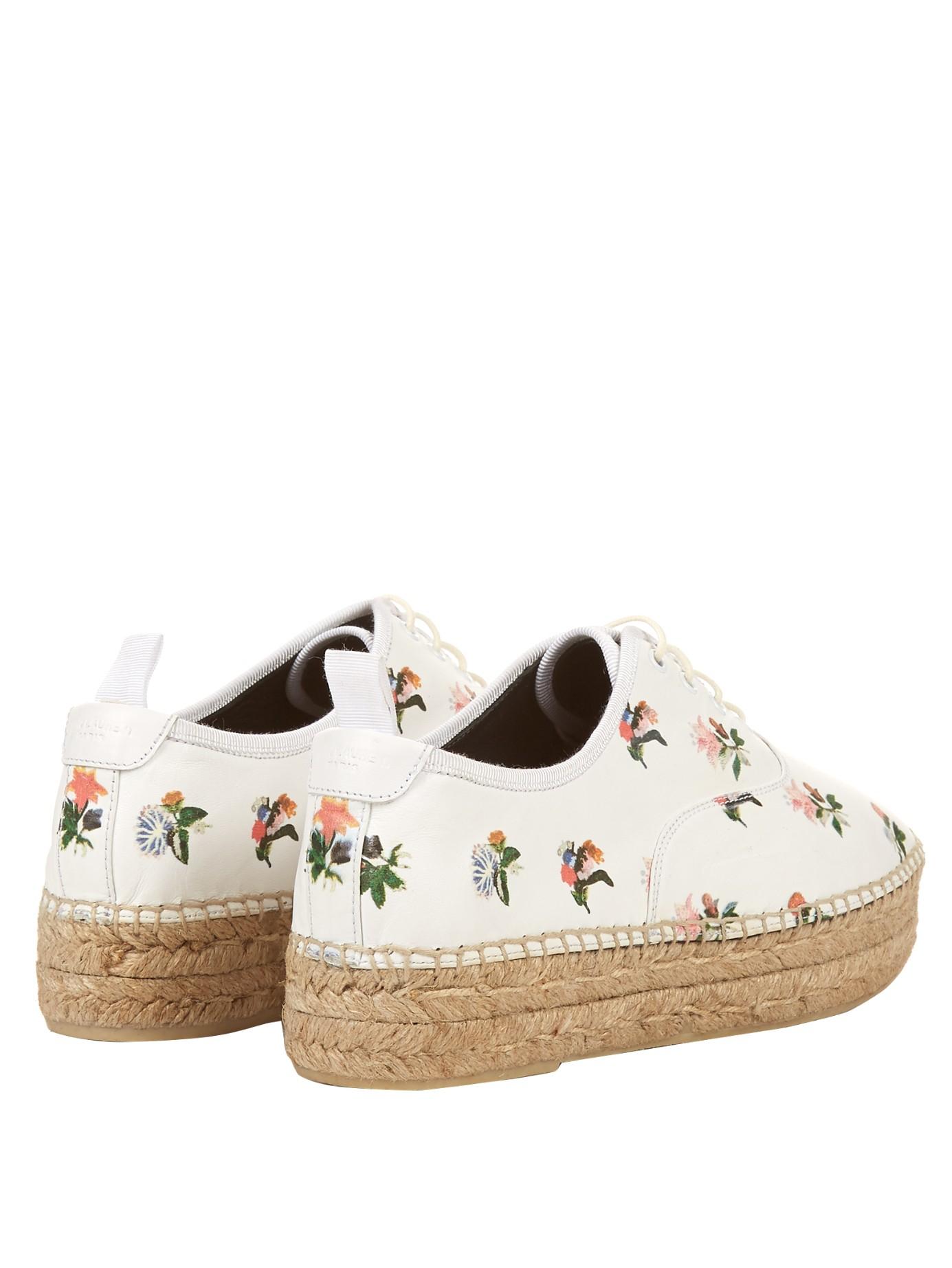 2d61a6e1b1c Saint Laurent Prairie Espadrille Lace-up Shoe in White - Lyst