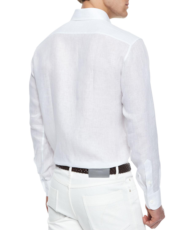 Lyst brioni long sleeve linen shirt in white for men for Linen long sleeve shirt