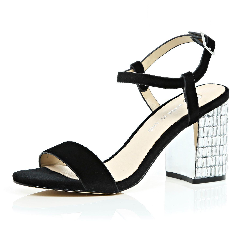 2d15a78b1ab8 River Island Black Velvet Gem Encrusted Block Heel Sandals in Black ...