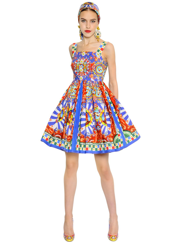 Lyst Dolce Amp Gabbana Carretto Printed Cotton Poplin Dress