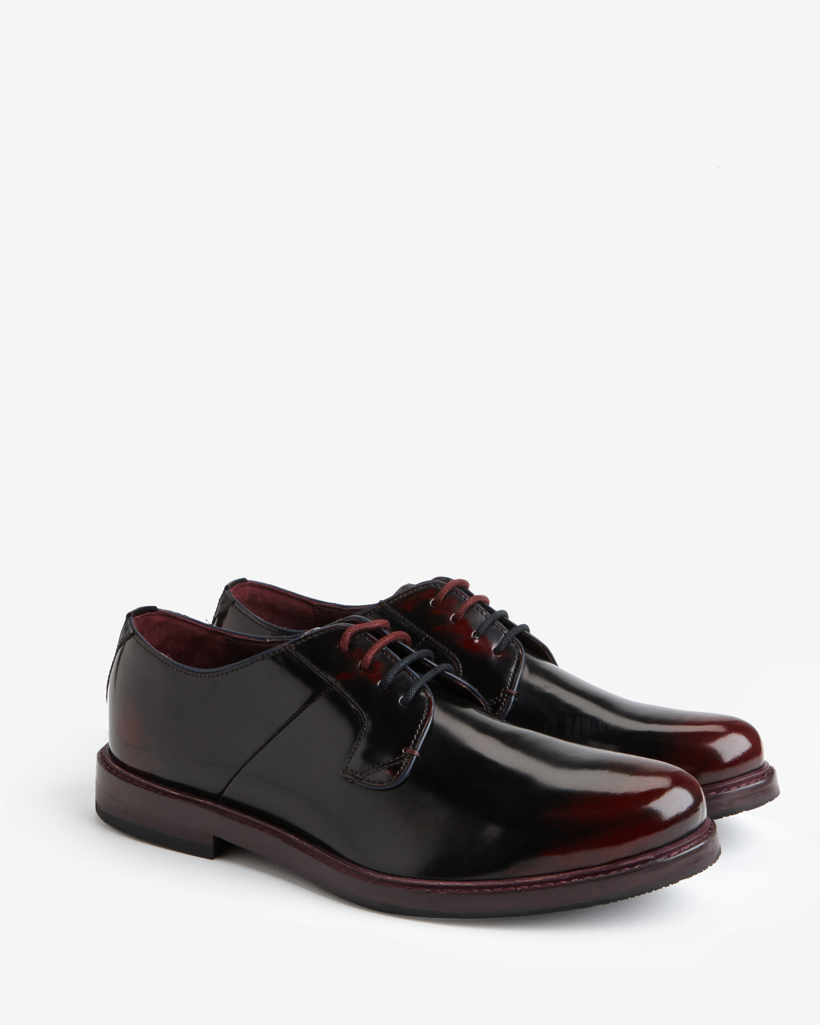 aba1eedf6d1ca1 Ted Baker High Shine Leather Derby Shoes in Red for Men - Lyst