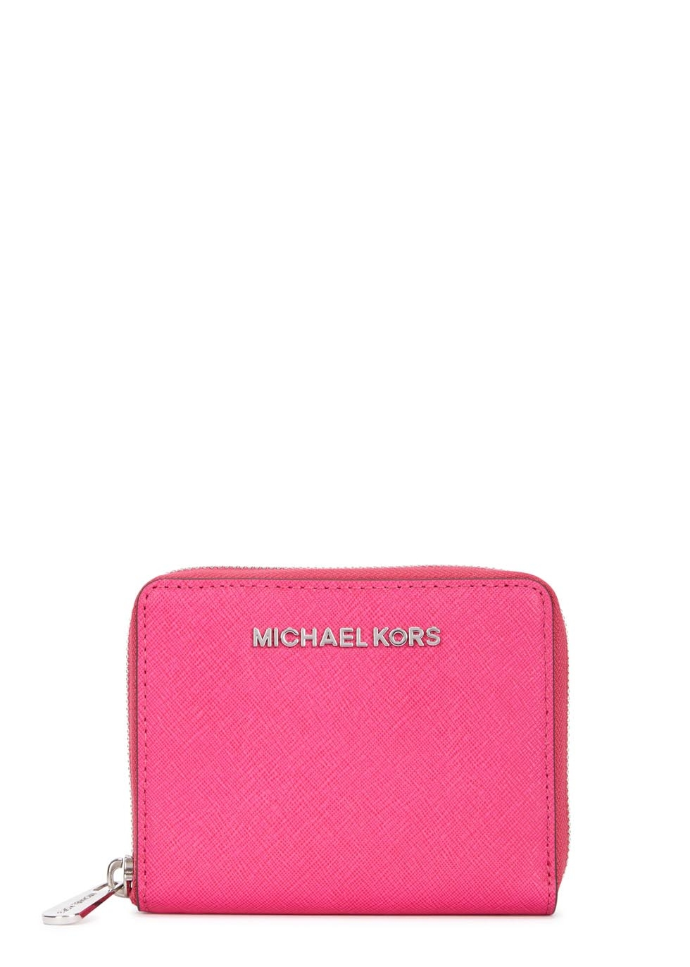 Lyst Michael Kors Jet Set Travel Fuchsia Leather Wallet