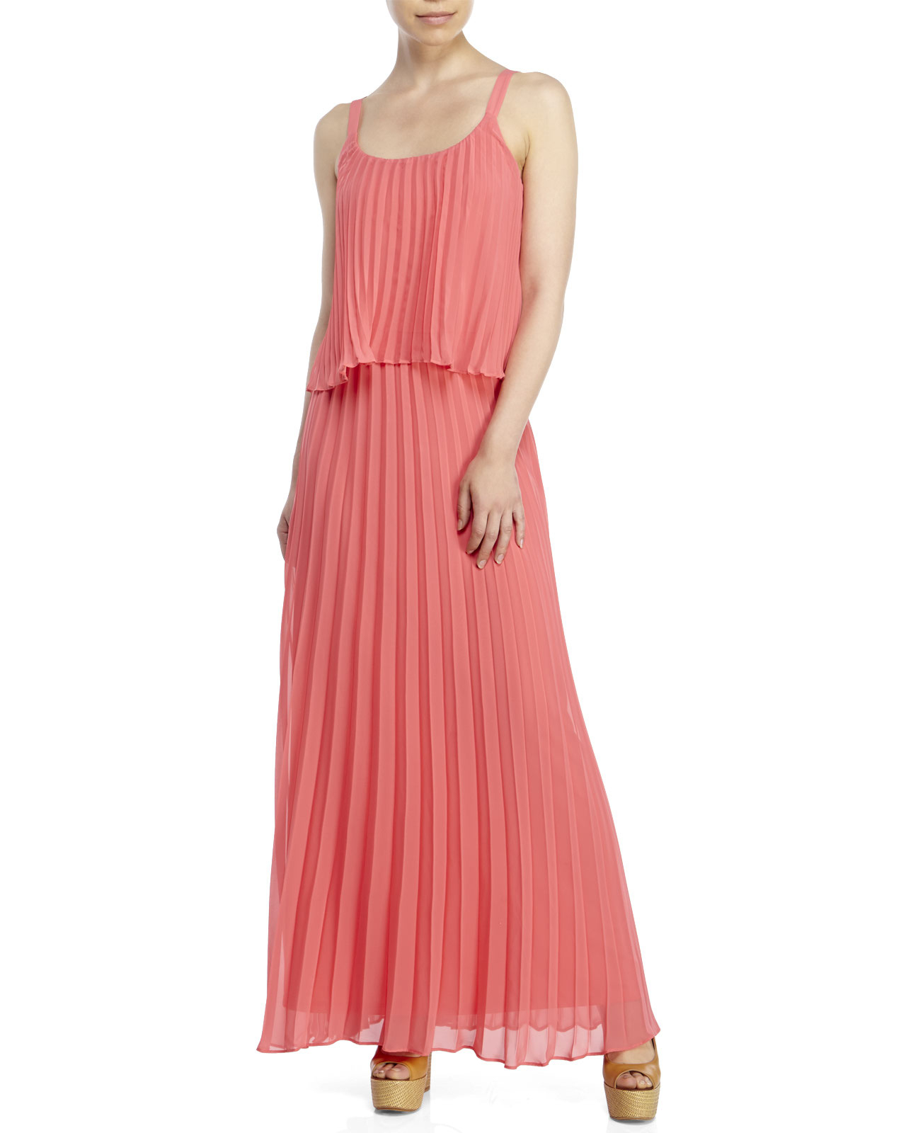 Lyst Eliza J Pleated Popover Maxi Dress In Pink