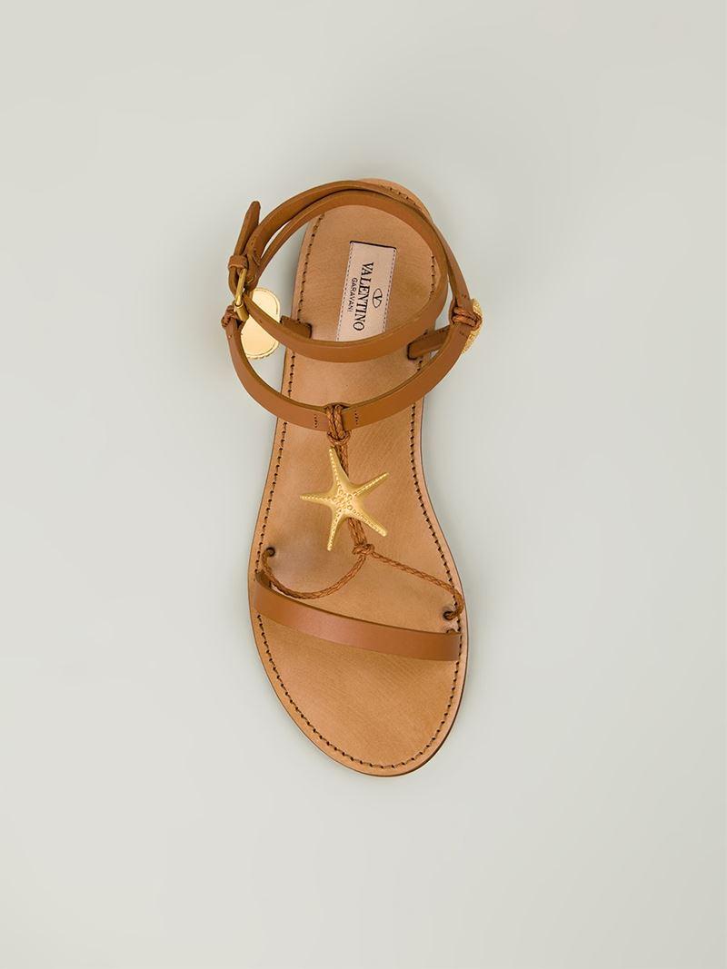 Valentino Starfish Sandals In Brown Lyst