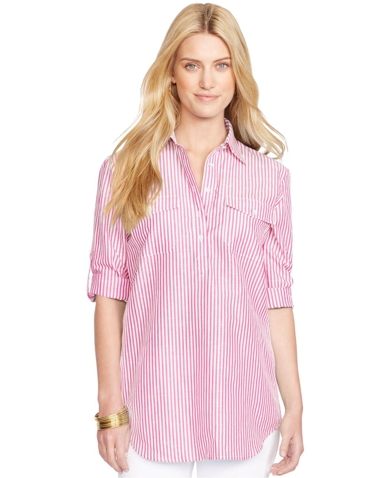 Lauren by ralph lauren linen bengal stripe shirt in pink for Pink white striped shirt