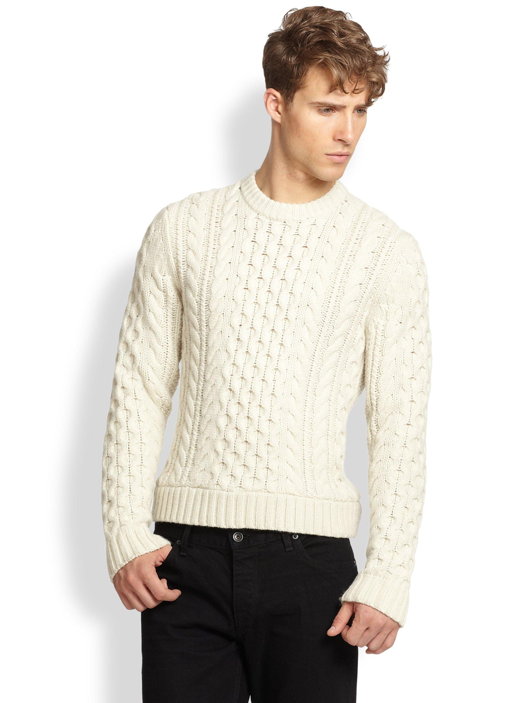 Rag & bone Trevor Cable Knit Wool Sweater in White for Men | Lyst