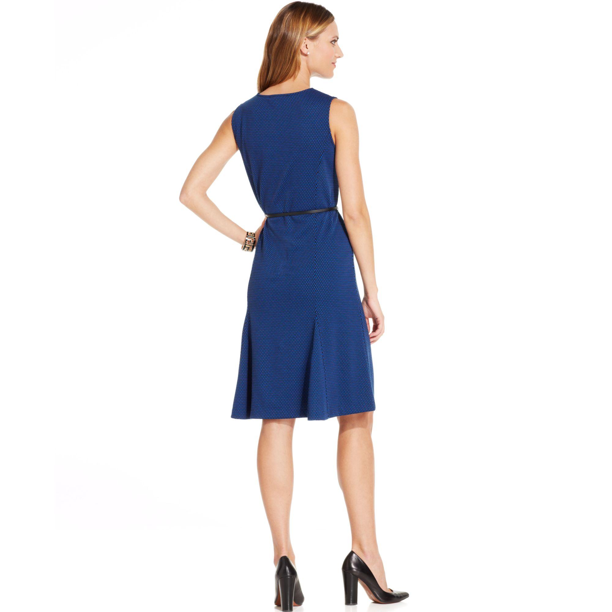 Jones New York Sleeveless Printed Belted Fit Flare Dress