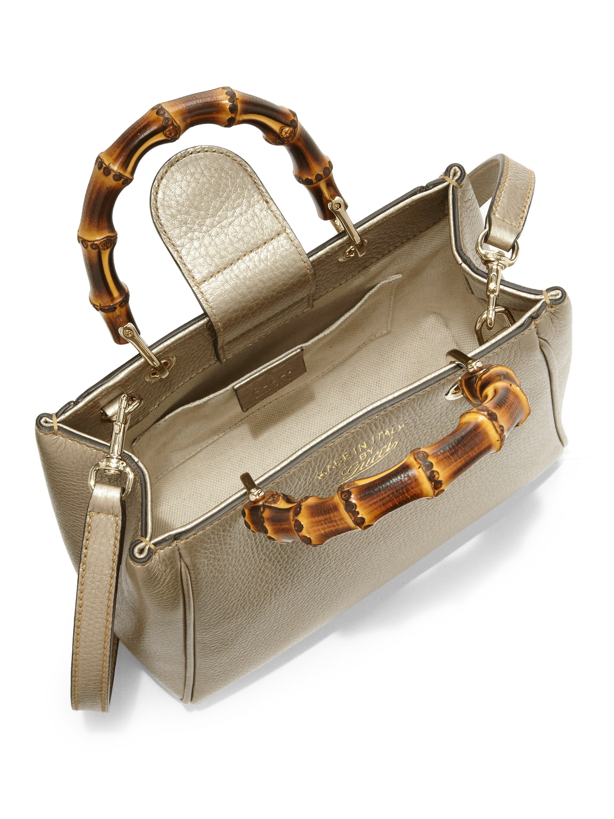 Lyst Gucci Bamboo Shopper Mini Leather Top Handle Bag In Metallic