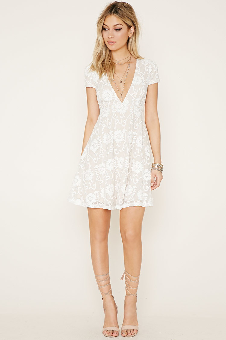 0f19fc3ec326 Forever 21 Lace Babydoll Dress in White - Lyst