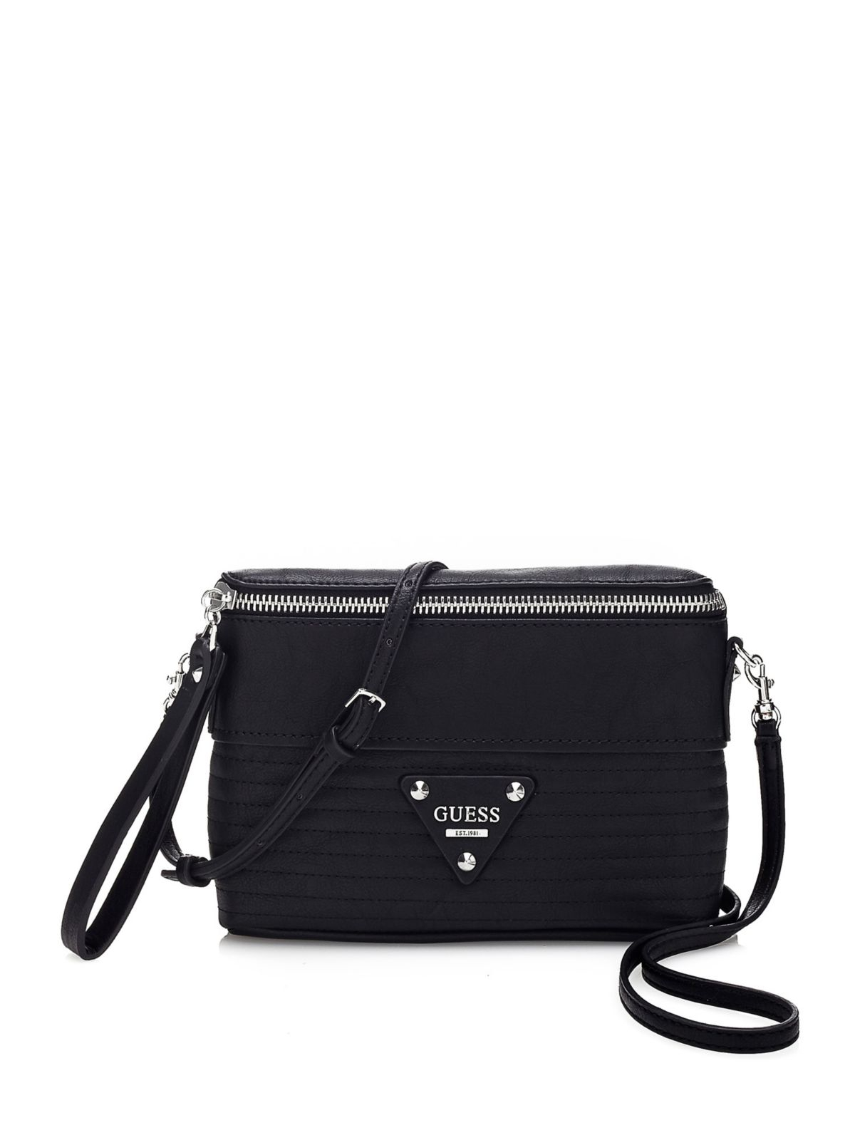 Guess Dylan Quilted Petite Crossbody Bag In Black Lyst