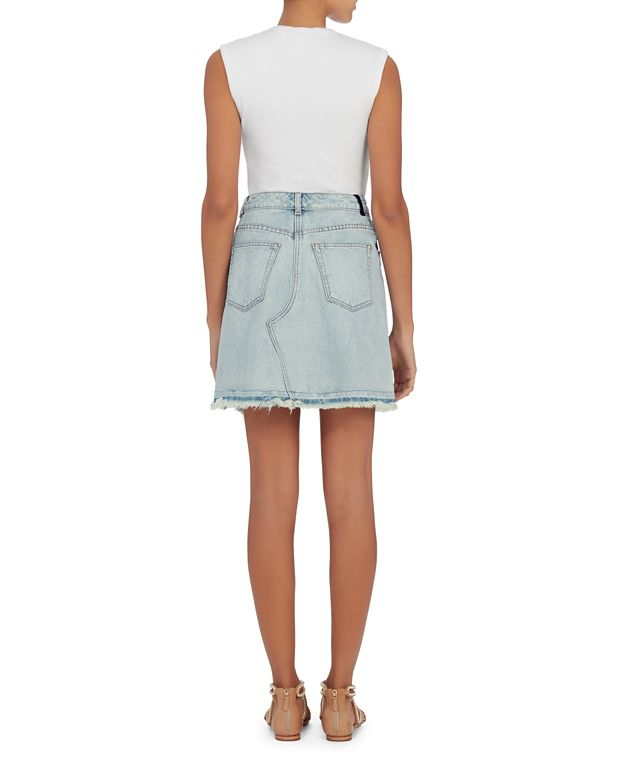 wang bleached denim pleated skirt lyst