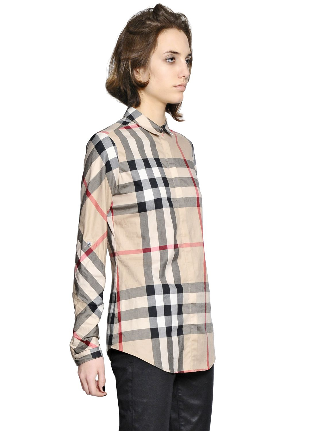 Burberry brit checked shirt in brown lyst for Burberry brit checked shirt