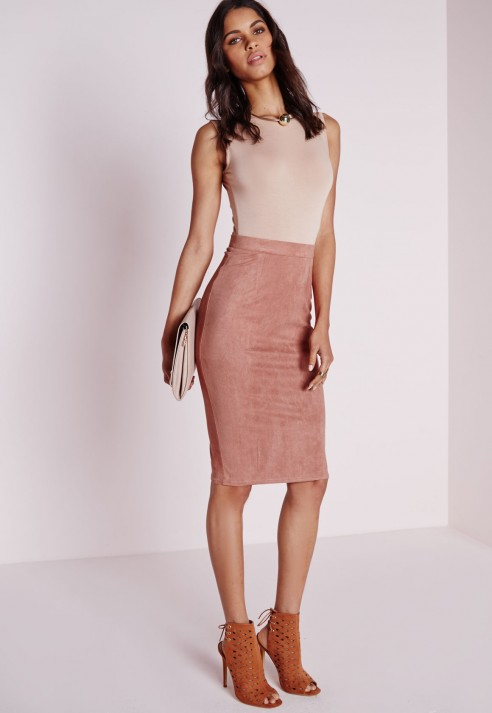 639684973dbd Lyst - Missguided Faux Suede Midi Skirt Pink in Purple