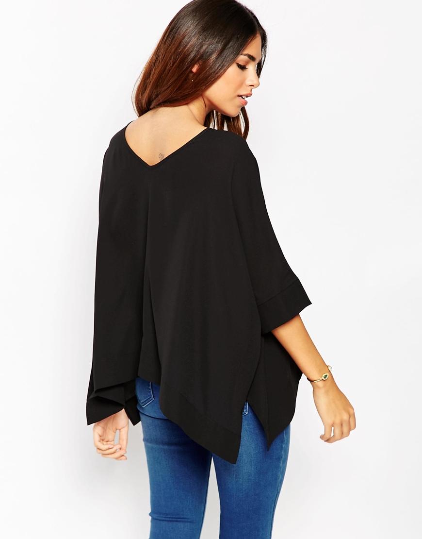Lyst asos oversize kimono t shirt with v back black in for Asos design free t shirt