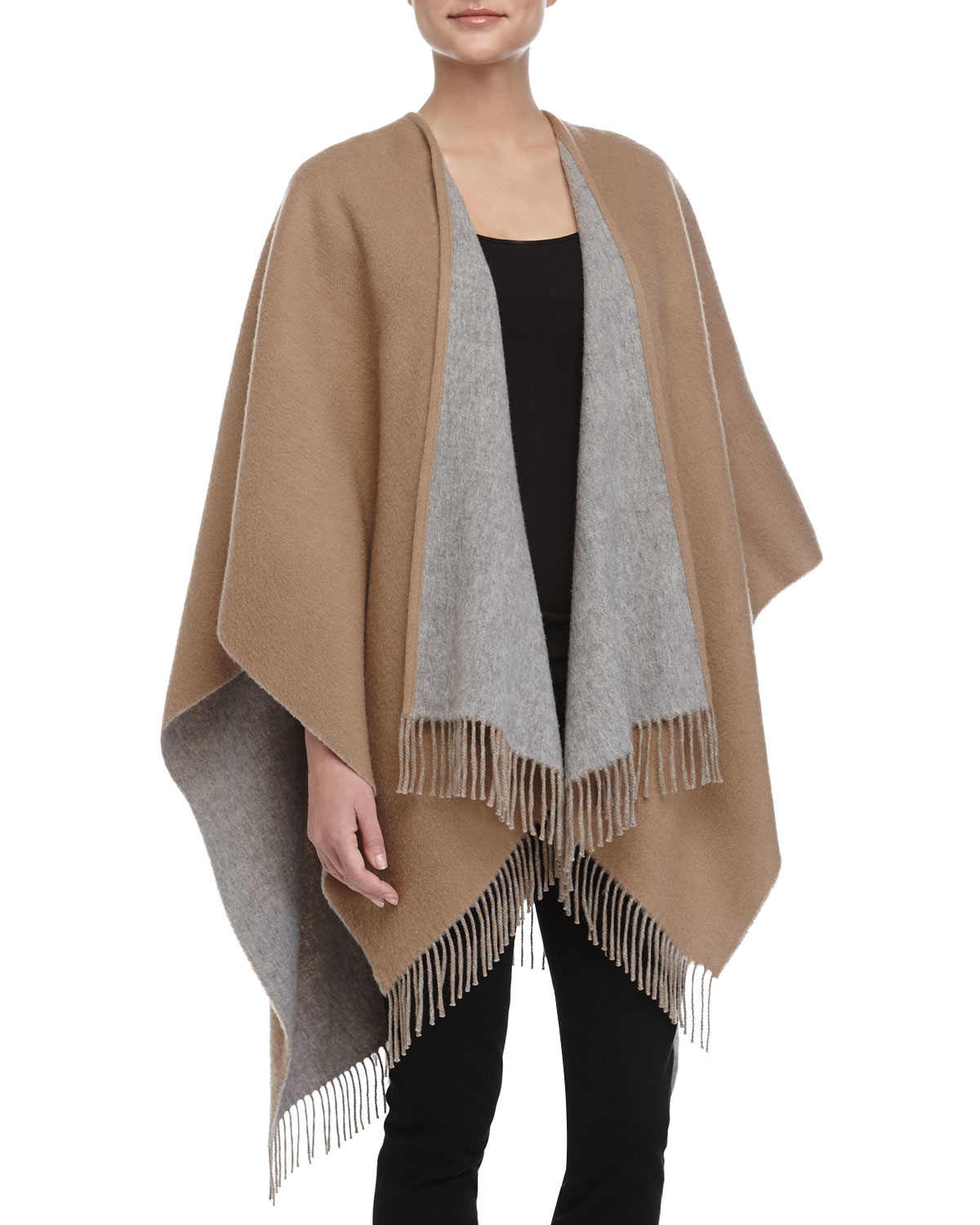 lyst rag bone double face fringed wool cape in natural. Black Bedroom Furniture Sets. Home Design Ideas