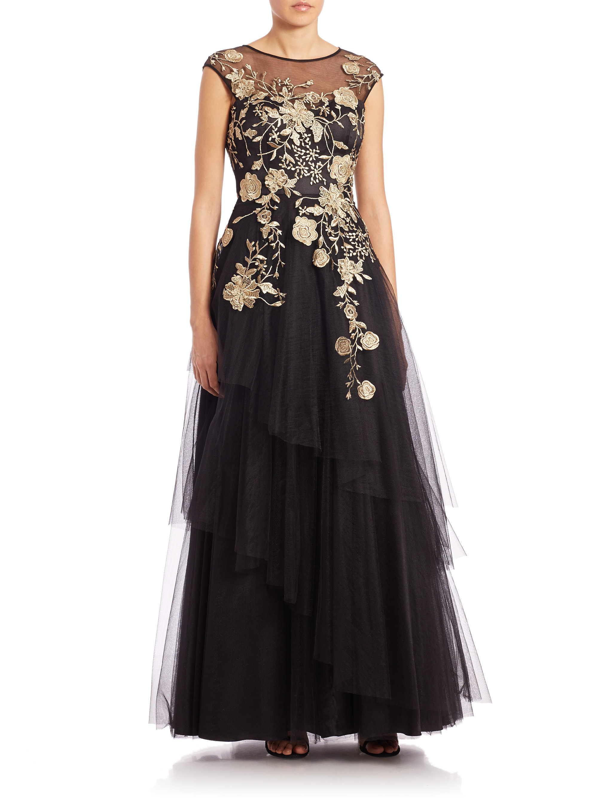 Lyst Teri Jon Floral Embroidered Tulle Ball Gown In Black