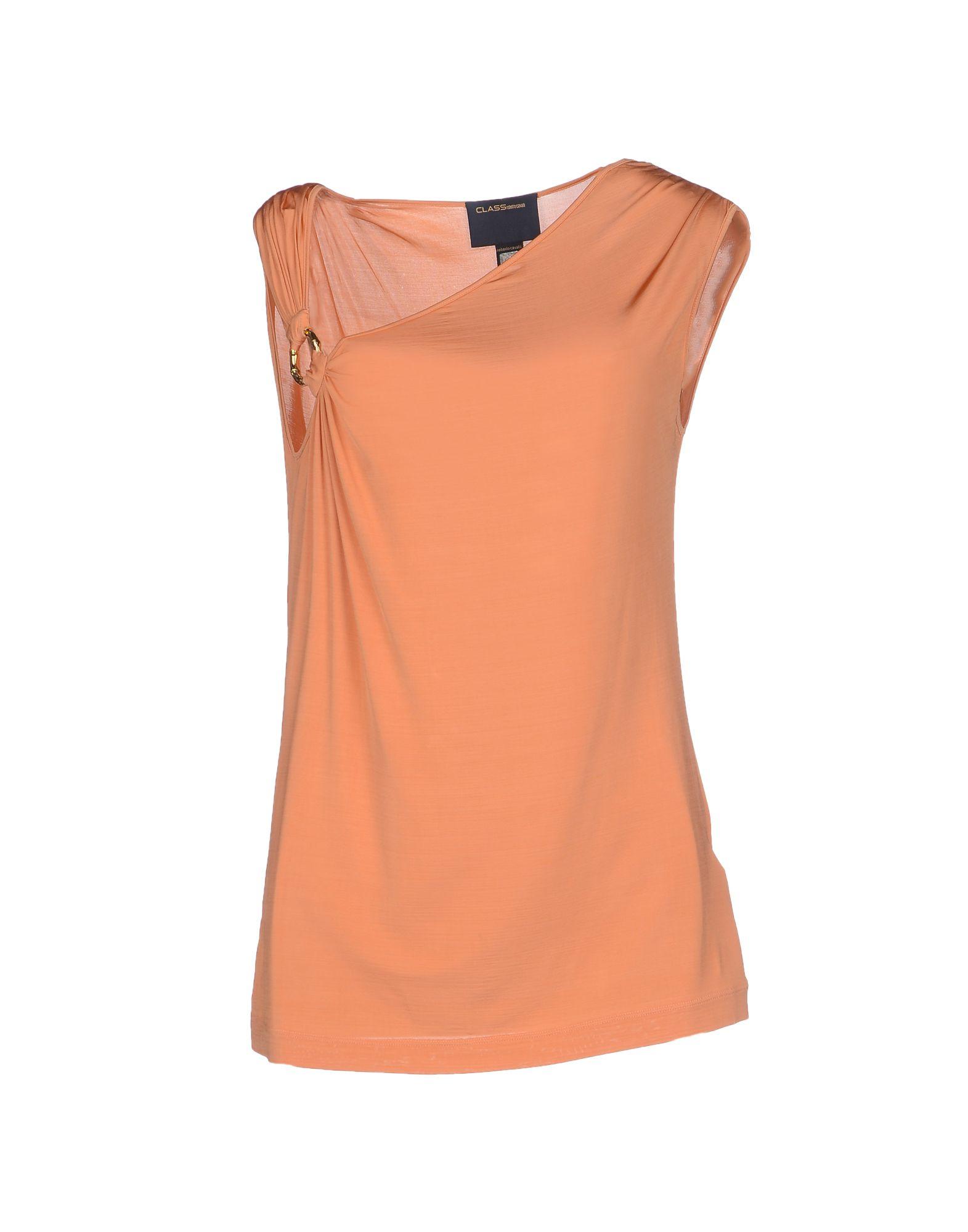Orange Top With Umbrella Sleeves The Vanca: Class Roberto Cavalli Top In Orange