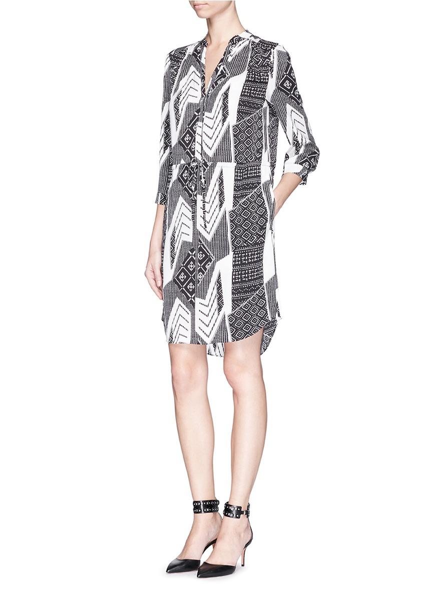 Diane von furstenberg 39 freya 39 ethnic print silk shirt for Diane von furstenberg shirt