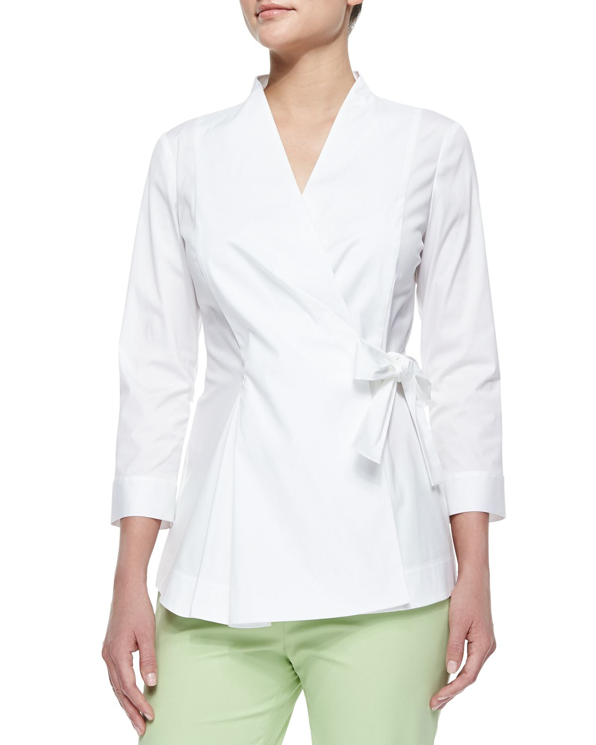 Womens White Side Tie Blouse - Long Blouse With Pants