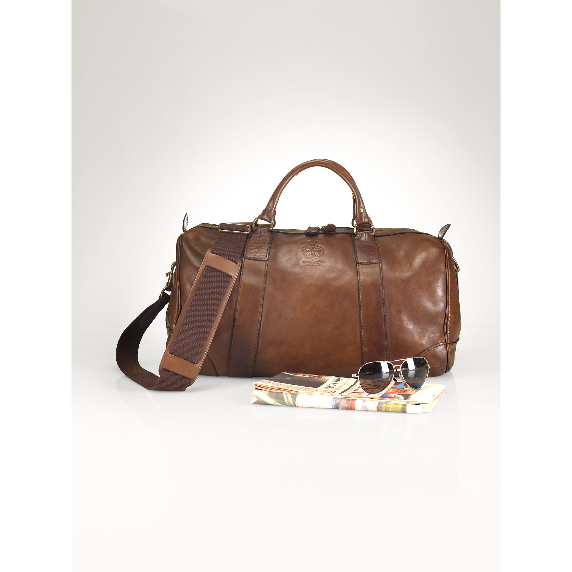 12e45f5cdd0 Lyst - Polo Ralph Lauren Leather Duffel Bag in Brown for Men