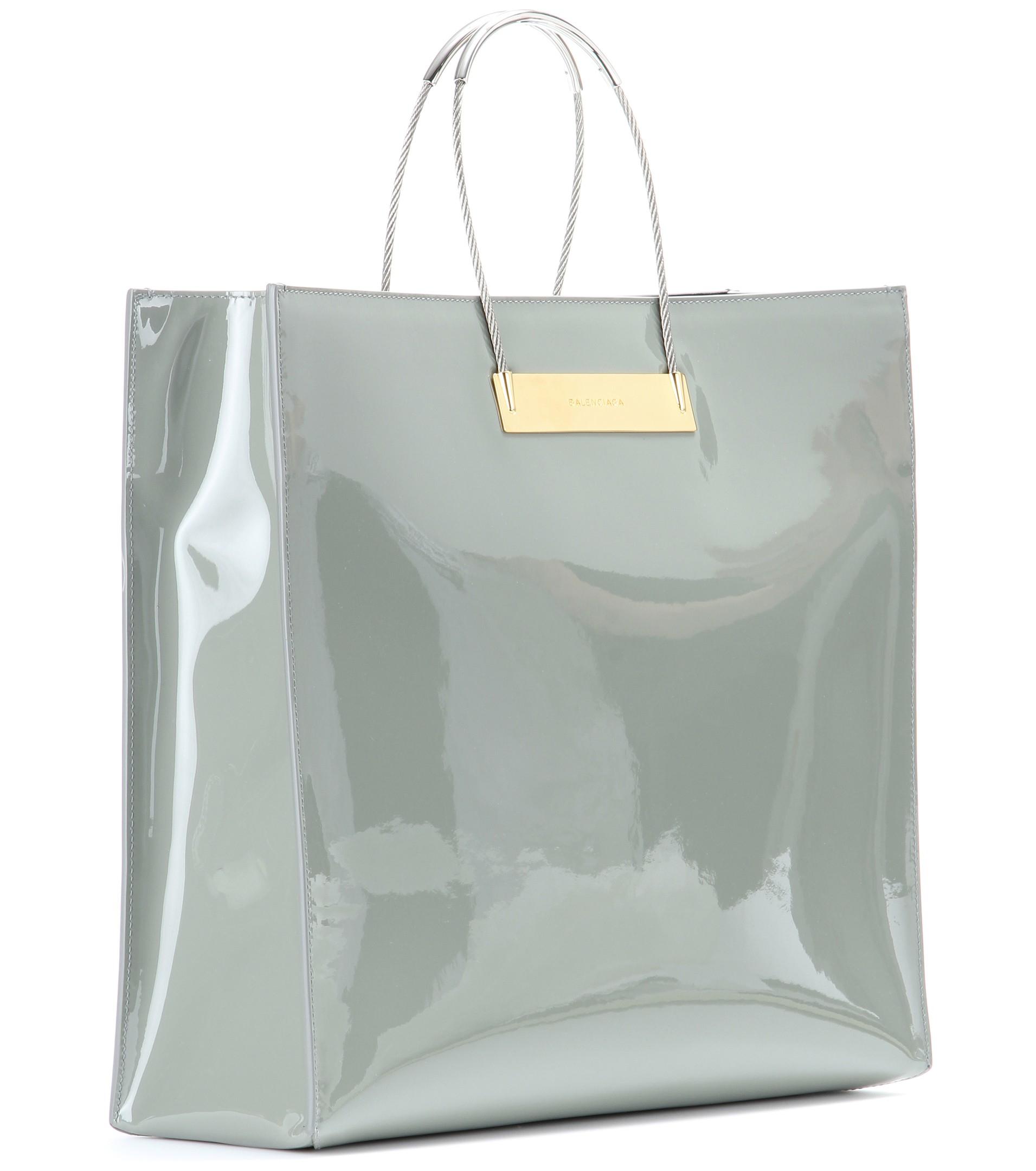 Balenciaga Cable Per Medium Patent Leather Bag In Metallic Lyst Mid Century White Purse Handbag By Rushcreekvintage