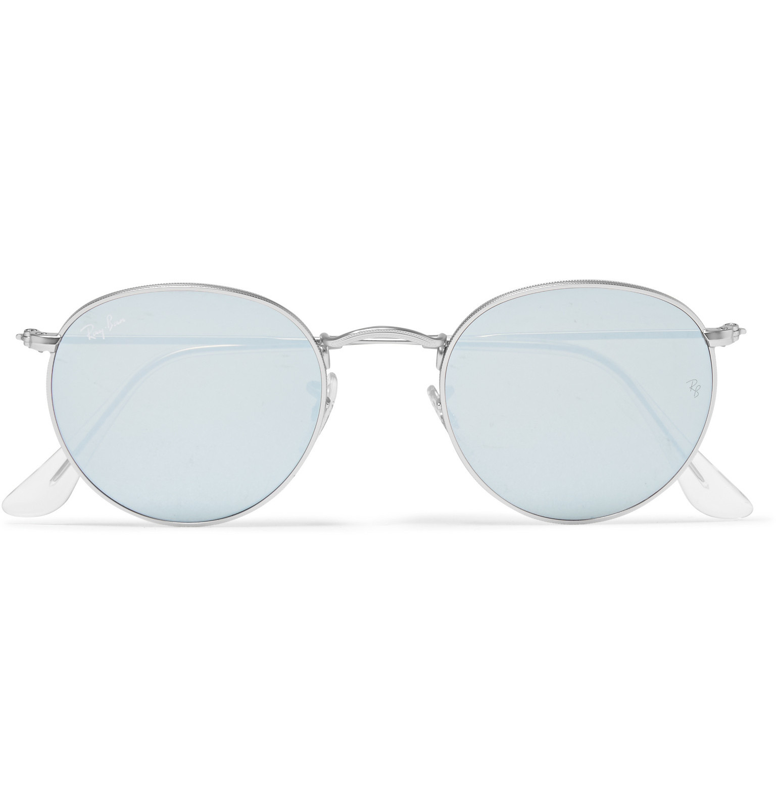 Ray Ban Round Frame Silver Tone Mirrored Sunglasses In