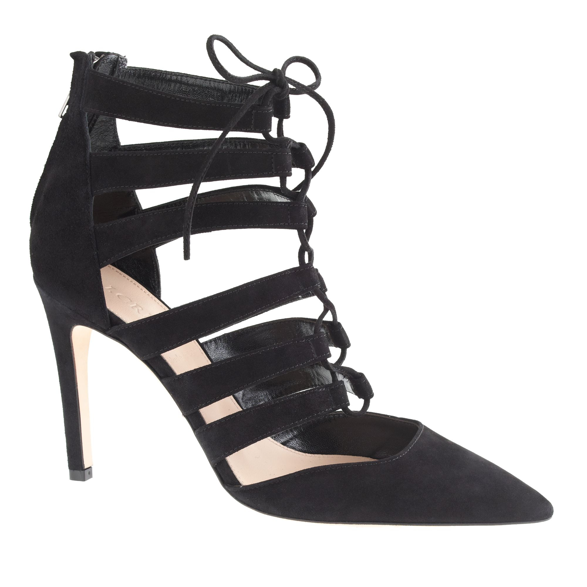 328d59f5d7 Lyst - J.Crew Suede Laceup Cage Pumps in Black