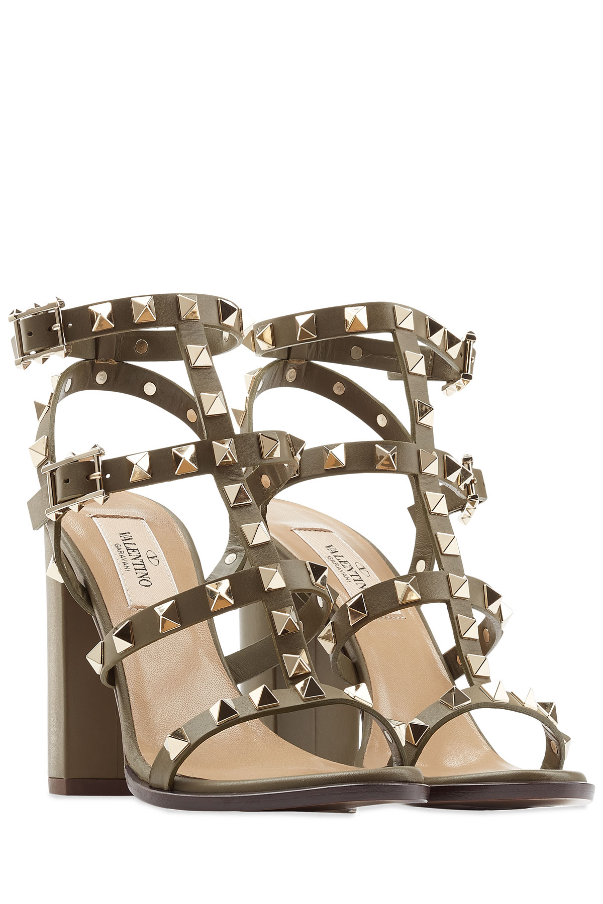 fc3f3ca6f Valentino Rockstud Block Heel Leather Sandals in Natural - Lyst