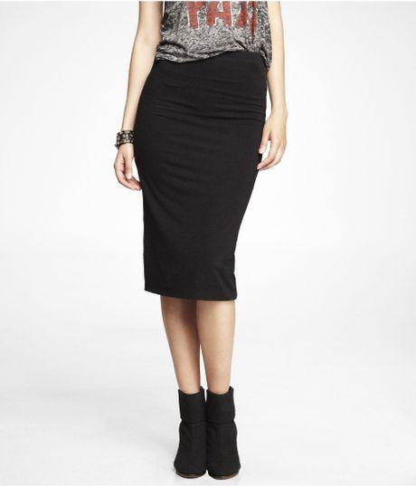 express stretch knit midi pencil skirt in black pitch